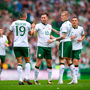 20 May 2018; Alan Browne, 10, celebrates with his Republic of Ireland XI team-mates, Jonathan Walters, 19, and James McClean after scoring their side's first goal during Scott Brown's testimonial match between Celtic and Republic of Ireland XI at Celtic Park in Glasgow, Scotland. Photo by Stephen McCarthy/Sportsfile