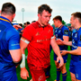 The Leinster players applaud Peter O'Mahony and his Munster team-mates off the pitch after Saturday's semi-finalhis. Photo: Brendan Moran/Sportsfile