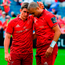 Ian Keatley, left, and Simon Zebo of Munster after the Guinness PRO14 semi-final match between Leinster and Munster at the RDS Arena in Dublin. Photo: Brendan Moran/Sportsfile