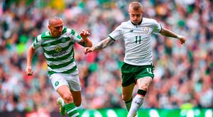 James McClean tries to get past Scott Brown at Parkhead. Photo: Stephen McCarthy/Sportsfile