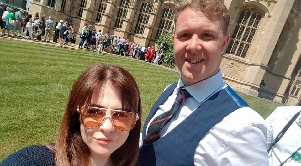 Phillip 'Barney' Gillespie (32) from Ballymena and girlfriend Kirsty Crawford take their seats on the castle lawns
