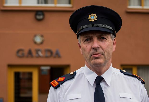 Superintendent Paul Hogan gives a press conference on the case outside Bray garda station. Photo: Doug O'Connor