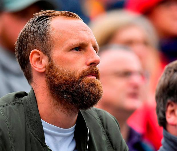 David Meyler, the Irish soccer international, watches from the stand. Photo by Brendan Moran/Sportsfile