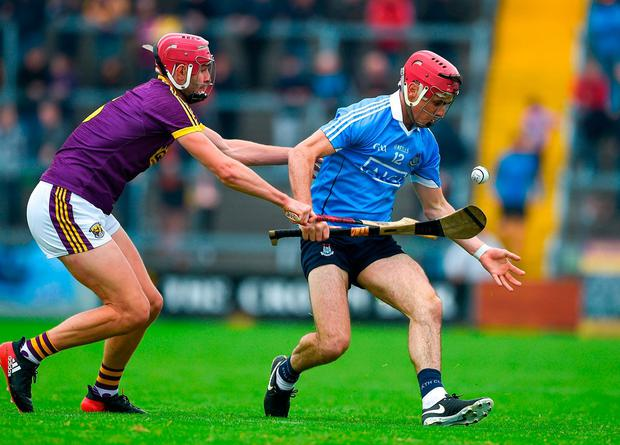 Dublin's Danny Sutcliffe in action against Wexford's Paudie Foley. Photo by Daire Brennan/Sportsfile