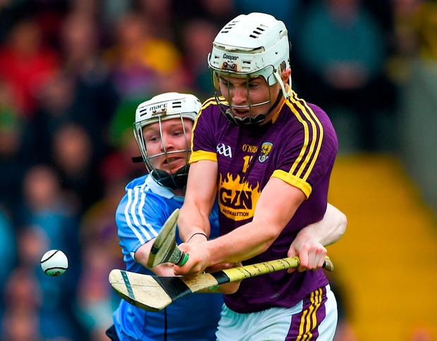 Wexford's Rory O'Connor in action against Dublin's Fiontán McGibb. Photo: Daire Brennan/Sportsfile