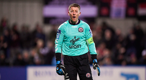 30 March 2018; Bohemians goalkeeper Shane Supple reacts during the SSE Airtricity League Premier Division match between Dundalk and Bohemians at Oriel Park in Louth. Photo by Stephen McCarthy/Sportsfile