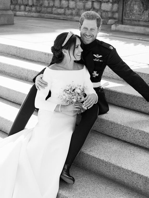 This official wedding photograph released by the Harry and Meghan shows the couple pictured together on the East Terrace of Windsor Castle. Alexi Lubomirski/Handout via Reuters