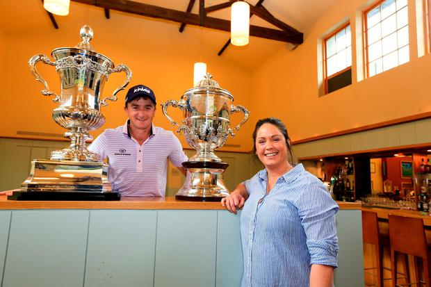 Paul Dunne and Maria Dunne with the WATC trophy at the 100 day countdown launch for the World Amateur Team Championships at Carton House. Photo: Fran Caffrey/Golffile