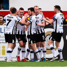 21 May 2018; Robbie Benson of Dundalk, second from left, celebrates with teammates after scoring his side's first goal during the SSE Airtricity League Premier Division match between Dundalk and Waterford at Oriel Park in Dundalk. Photo by Ben McShane/Sportsfile