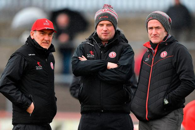Tyrone's management triumvirate of Mickey Harte, assistant manager Gavin Devlin and selector Stephen O'Neill have a lot of work on their plate. Photo: Brendan Moran/Sportsfile
