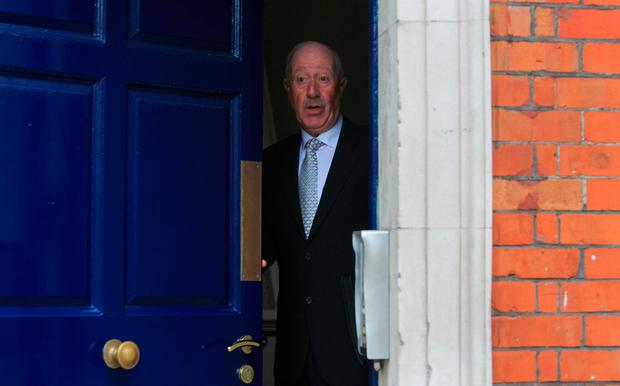 Former Garda commissioner Martin Callinan leaves the Disclosures Tribunal yesterday. Photo: Gareth Chaney