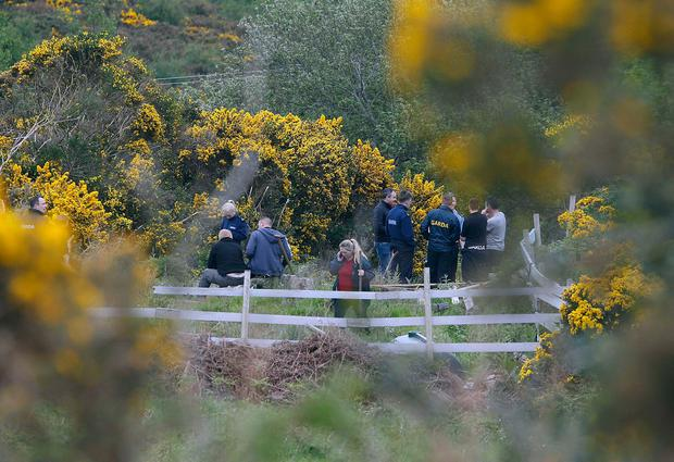 Gardai pictured at the scene at Pucks Castle, Rathmichael ,Co Dublin today.