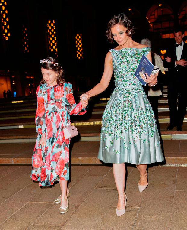 Katie Holmes and Suri Cruise enjoy a night at American Ballet Theater at Lincoln Center on May 21, 2018 in New York City. (Photo by Gotham/GC Images)