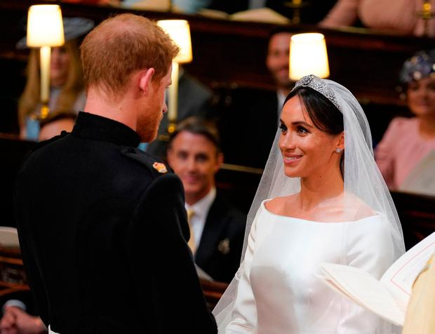 Prince Harry and Meghan Markle during their wedding at St George's Chapel, Windsor Castle