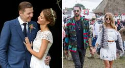 Professor Green and Millie Mackintosh, left, and Hugo Taylor and fiancée Millie Mackintosh, right