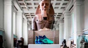 Last week, the British Museum in London put Salah's green football boots as part of its Modern Egypt exhibition.. Photo credit: British Museum/PA Wire
