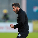 22 May 2018; Shamrock Rovers head coach Stephen Bradley celebrates his side's second goal, scored by Ronan Finn, during the SSE Airtricity League Premier Division match between Shamrock Rovers and St Patrick's Athletic at Tallaght Stadium in Dublin. Photo by Seb Daly/Sportsfile