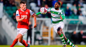 Kevin Toner of St Patrick's Athletic in action against Dan Carr of Shamrock Rovers. Photo by Seb Daly/Sportsfile