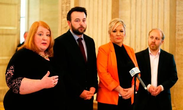 Naomi Long from the Alliance Party, Colum Eastwood from the SDLP, Michelle O'Neill from Sinn Féin and Steven Agnew from the Green Party join forces. Photo: PA