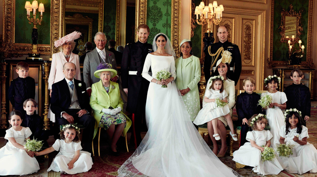 Group shot: The family snap with Meghan centre stage. Photo: Getty Images