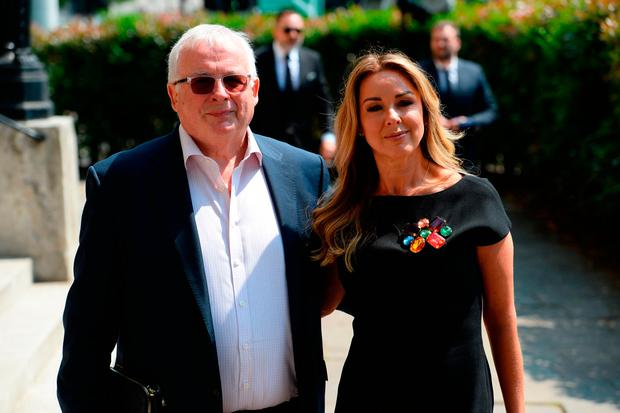 Television personalities Christopher Biggins and Claire Sweeney arrive at Old Church, One Marylebone Road, London, for the funeral of Dale Winton. Photo credit: Kirsty O'Connor/PA Wire