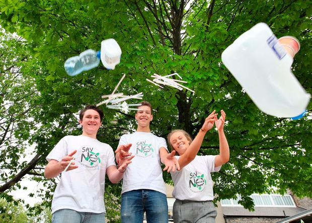 Tyron Kritzinger, Eduardo Nestor and Caia Murdock from Newpark Comprehensive plan to make their school plastic-free