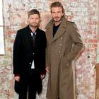 Kent & Curwen Creative Director Daniel Kearns (L) and David Beckham attend the launch of the Kent & Curwen collection during London Fashion Week Men's January 2017 collections at Oxo Tower Wharf on January 8, 2017 in London, England. (Photo by Darren Gerrish/Darren Gerrish/WireImage)