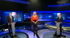 Minister for Health Simon Harris (left) and Peader Tóibín (right) appear on last night's Prime Time debate with Miriam O'Callaghan