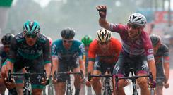 Italy's rider of team Quick-Step Elia Viviani (R) celebrates as he crosses the finish line ahead Ireland's rider of team Bora Hansgrohe Sam Bennett (L) and wins the 17th stage between Riva del Garda and Iseo during the 101st Giro d'Italia, Tour of Italy cycling race, on May 23, 2018. / AFP PHOTO / Luk BeniesLUK BENIES/AFP/Getty Images