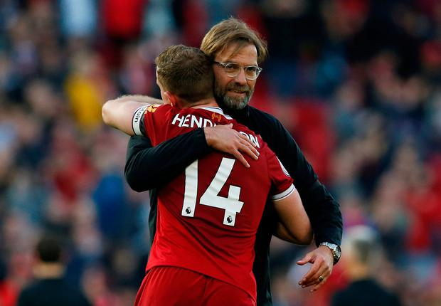 """We are Liverpool,"" he chanted, urging his players to join him. In a rousing sermon he assured those who would continue his Anfield journey, still in its infancy, that they would experience more finals and eventual victories. ""This is just the start for us,"" he said. Photo: Reuters"