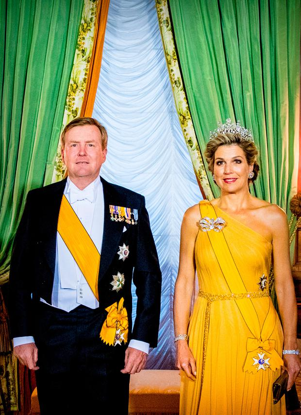 King Willem-Alexander of The Netherlands and Queen Maxima of The Netherlands during the official picture at the state banquet in the Grand Ducal Palace on May 23, 2018 in Luxembourg, Luxembourg. The Dutch King and Queen are in Luxembourg for a three day state visit. (Photo by Patrick van Katwijk/Getty Images)