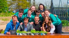 Ireland's Young Food Entrepreneurs winners are pictured with the founder of GIY Michael Kelly and Sully of Cully & Sully' along with the competition's guest judge Roz Purcell. Photo: Patrick Browne.
