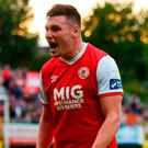 Kevin Toner of St Patrick's Athletic celebrates after scoring his side's third goal during the SSE Airtricity League Premier Division match between St Patrick's Athletic and Derry City at Richmond Park last week. Photo by David Fitzgerald/Sportsfile