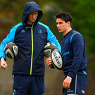 24 April 2018; Head coach Leo Cullen, left, with Joey Carbery during Leinster Rugby squad training at Rosemount in UCD, Dublin. Photo by Brendan Moran/Sportsfile