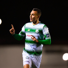 23 March 2018; Graham Burke of Shamrock Rovers celebrates after scoring his side's first goal during the SSE Airtricity League Premier Division match between Waterford and Shamrock Rovers at the RSC in Waterford. Photo by Seb Daly/Sportsfile