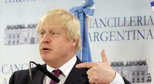 Britain's Foreign Secretary Boris Johnson gestures during a news conference in Buenos Aires, Argentina, May 22, 2018. REUTERS/Marcos Brindicci