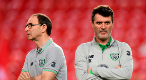 23 March 2018; Republic of Ireland assistant manager Roy Keane, right, and manager Martin O'Neill prior to the International Friendly match between Turkey and Republic of Ireland at Antalya Stadium in Antalya, Turkey. Photo by Stephen McCarthy/Sportsfile