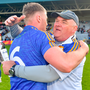 13 May 2018; Wicklow manager John Evans celebrates with Dean Healy after the Leinster GAA Football Senior Championship Preliminary Round match between Offaly and Wicklow at O'Moore Park in Laois. Photo by Piaras Ó Mídheach/Sportsfile