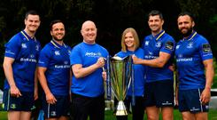 Jonathan Sexton, Jamison Gibson-Park, Aware head of fundraising Gerry O'Brien and Aware communications manager Jamie Good, Rob Kearney and Isa Nacewa with the Champions Cup. Photo: Brendan Moran/Sportsfile