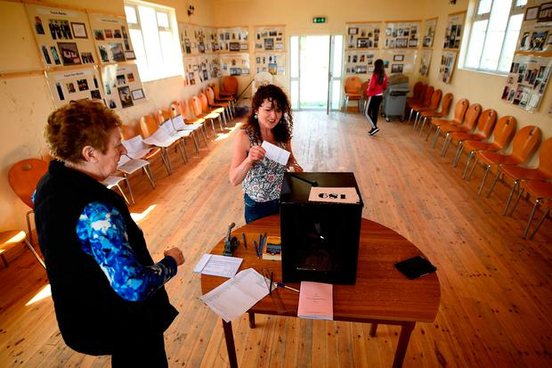 Votes are cast on Inishbofin, Co Donegal. Photo: Clodagh Kilcoyne/PA Wire