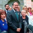 Taoiseach Leo Varadkar is joined by Fine Gael party colleagues at Merrion Square, Dublin, ahead of the referendum on the 8th Amendment of the Irish Constitution, in Dublin. Photo: Niall Carson/PA Wire