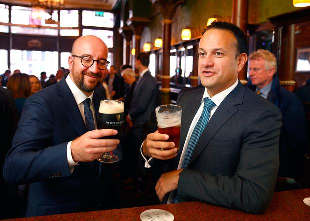 Taoiseach Leo Varadkar took Belgian Prime Minister Charles Michel to the Lincoln Inn pub in Dublin after his visit to Government buildings to discuss Brexit. Photo: Gerry Mooney