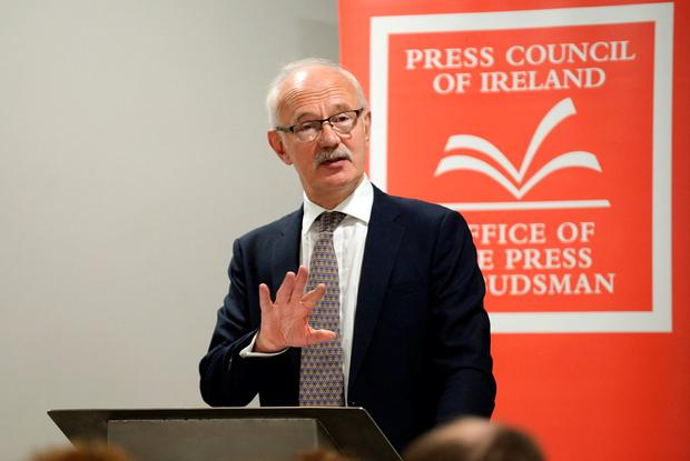 Press Ombudsman Peter Feeney speaking at the launch of the report yesterday. Photo: Caroline Quinn