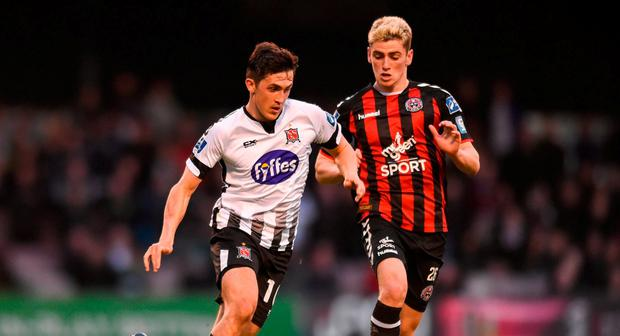 Jamie McGrath of Dundalk in action against Dylan Watts of Bohemians during the SSE Airtricity League Premier Division match between Bohemians and Dundalk at Dalymount Park in Dublin. Photo by Ben McShane/Sportsfile