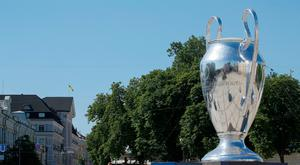 A giant replica of the UEFA Champions League trophy is on display in central Kiev