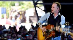 INDIO, CA - APRIL 30: Musician Kiefer Sutherland performs on the Palomino stage during day 3 of 2017 Stagecoach California's Country Music Festival at the Empire Polo Club on April 30, 2017 in Indio, California. (Photo by Frazer Harrison/Getty Images for Stagecoach)