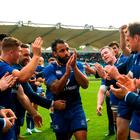 Leinster captain Isa Nacewa is applauded off the pitch by teammates following his final home appearance for Leinster, after the Guinness PRO14 semi-final match between Leinster and Munster at the RDS Arena in Dublin. Photo by Ramsey Cardy/Sportsfile