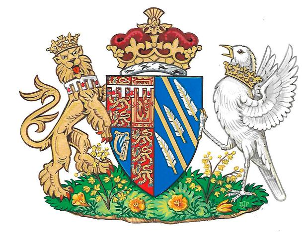 Britain's Meghan, the Duchess of Sussex's, new coat of arms can be seen in this undated handout illustration issued by Kensington Palace in London, Britain, May 25, 2018. Kensington Palace/Handout via REUTERS -- ATTENTION EDITORS -- THIS IMAGE WAS SUPPLIED BY A THIRD PARTY. NO RESALES. NO ARCHIVES.