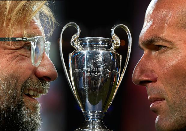 Jurgen Klopp (left) and Zinedine Zidane (right). (Photo by Aitor Alcalde/Getty Images)