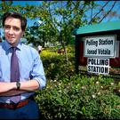 Minister for Health Simon Harris voting at Delgany National School Polling Station. Pic Steve Humphreys